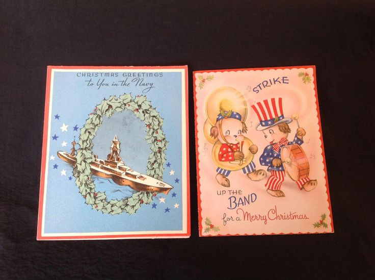 Two vintage patriotic Christmas cards   Merry Christmas to You in the Navy and Strike Up the Band for a Merry Christmas