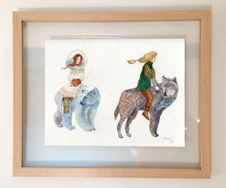 Original 21st century watercolour painting of a travelling couple riding Bear and Wolf. Signed and dated by the artist. - Original 21st century watercolour painting of a travelling couple riding Bear and Wolf. Signed and dated by the artist.
