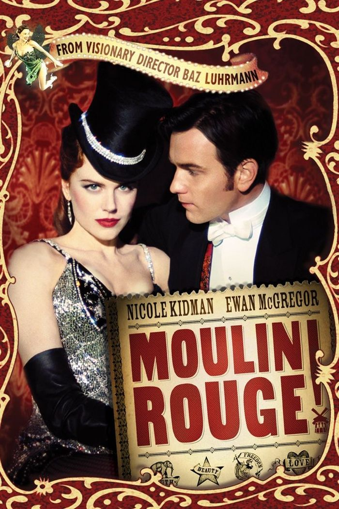 Moulin Rouge movie poster with Nicole Kidman and Ewan McGregor