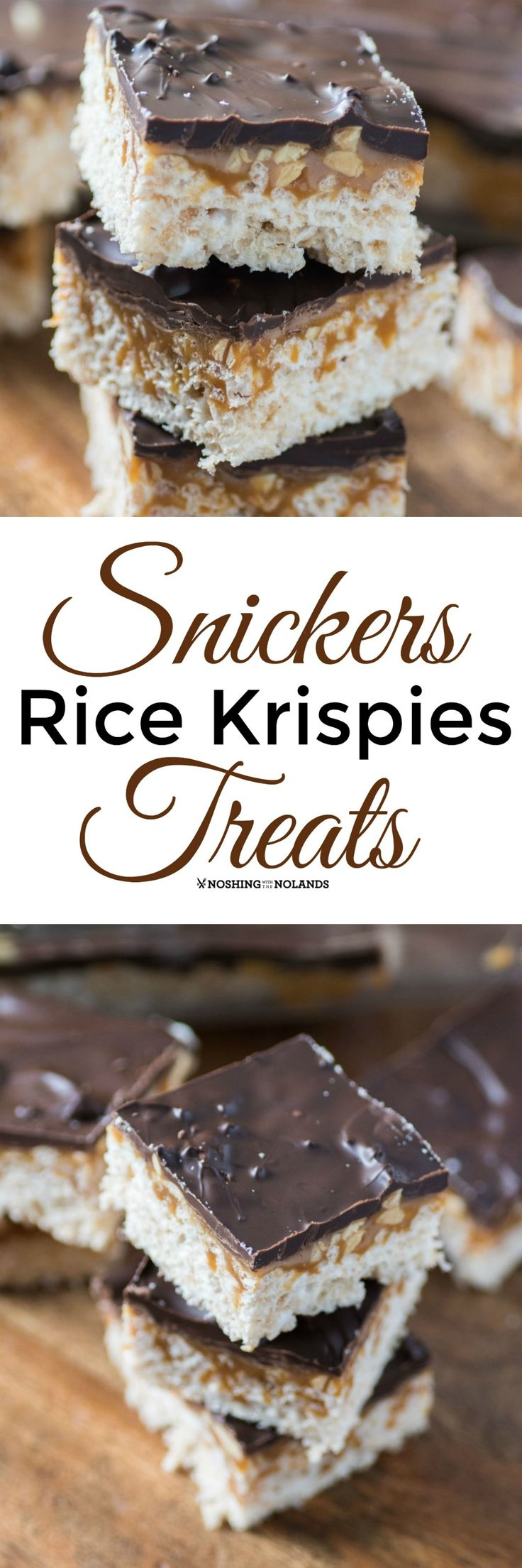 Snickers Rice Krispies Treats by Noshing With The Nolands combines two delicious treats into one fabulous dessert! You are going to want to make these right away!