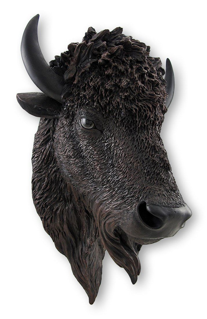Realistic American Bison Head Statue Wall Mount | eBay