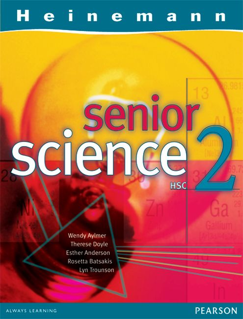 Heinemann Senior Science 2: full and detailed coverage of HSC core modules plus two options; clear explanations of concepts in language students can understand; colourful, innovative and stimulating design;  easy-to-follow layout including clearly structured sections; relevant, high-interest material that draws on student interest and experience; knowledge and understanding are now developed in the Prescribed Focus Areas within the Contexts outlined by the Board of Studies extension material