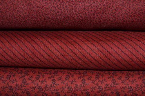 Tissu-Moda-Pas-Cher-Lot-de-3-coupons-rouge-fonce-Collection-Miniature-Gather