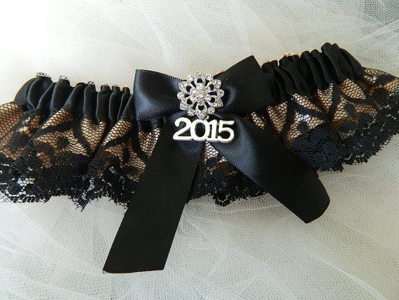 2015  Prom Garter Black And Champagne Costum by GartersByTania