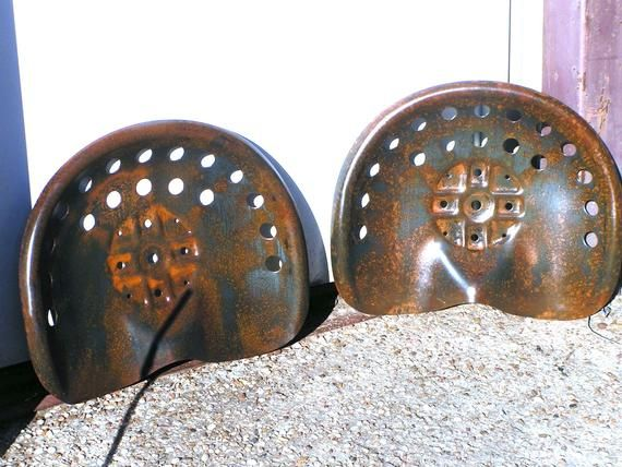 great for bar stool tops New Old Style 2 RED distressed Steel tractor seat s