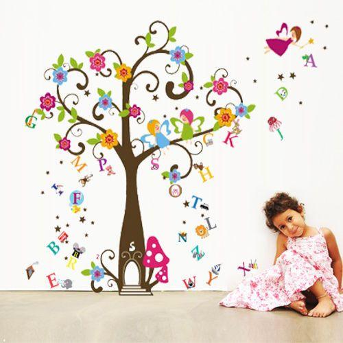 Fairytale Angel + Alphabet Tree Wall Sticker Decal Paper Children Nursery #Childrens