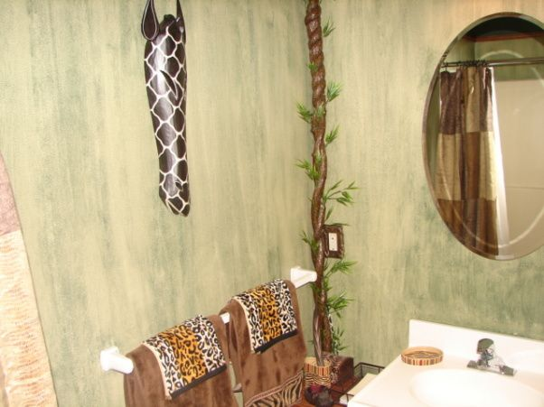 Safari Themed Bathroom   ... Vines, Sink With Various Jungle Theme  Accessories,