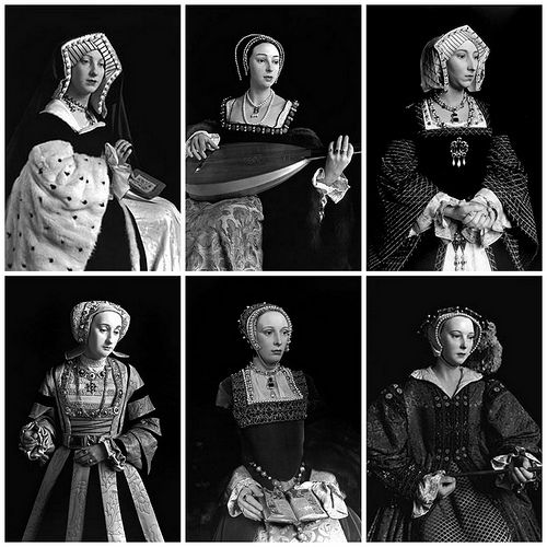 Side by sides of the wax figures of the Six Wives of Henry VIII as photographed by Hiroshi Sugimoto.