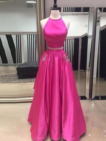 446a610d5f Fashion Two Piece Floor Length Prom Dress Semi Formal Dresses Wedding Party  Dress LP193