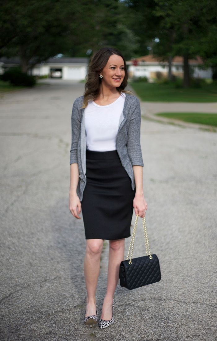 Bonus for the fact that black is super slimming and you'll look killer in a chic black pencil skirt. I like to wear mine with a neutral beige and black, tiny polka-dotted print blouse and timeless black pumps.