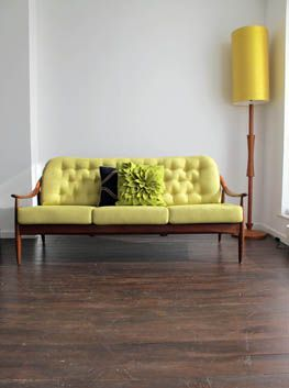 Greaves & Thomas Teak Sofa   Circa 1950's / 1960's  A wonderfully styled sofa by one of the leading British furniture manufacturers of the era. Professionally re-upholstered in a lovely yellow-lime weave. Fully fire retardent. Height: 81cm (seat 44cm)  Depth: 75cm Length: 179cm