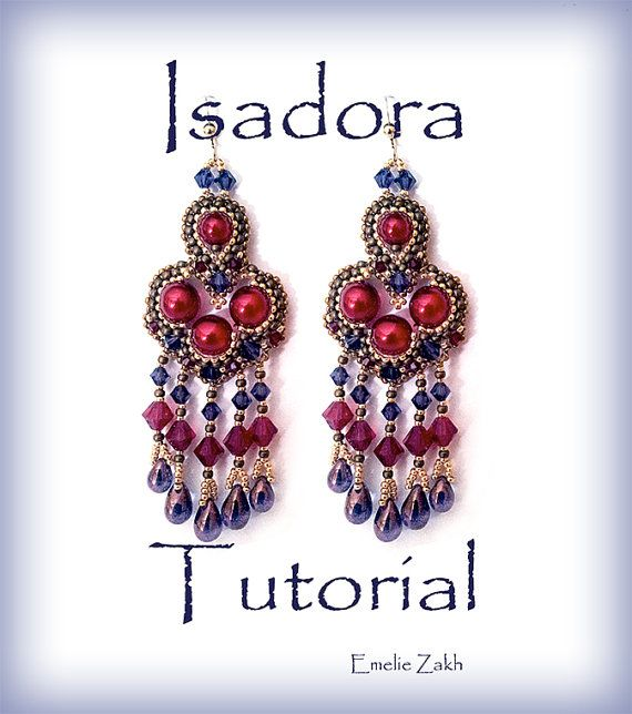 Isadora Beading tutorial.Beaded pattern earrings. ! PDF file containing instructions .