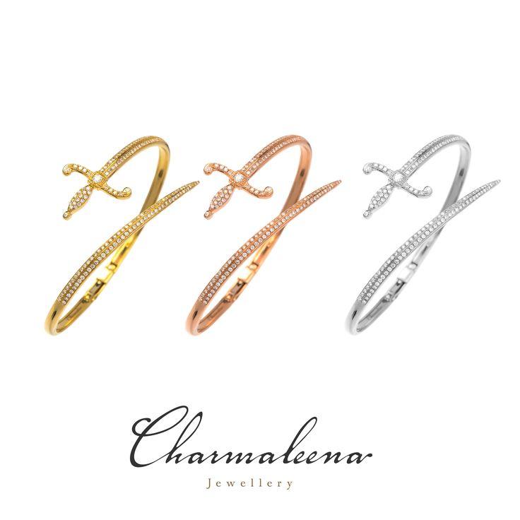 Swords of Love – Special Edition Cuff bracelets.. #Sword  #diamond #bracelets  #jewellery  #mycharmaleena #charmaleena #finejewellery  #yellowgold #RoseGold   #jeddah #riyadh #ksa #saudi #saudiarabia #Dubai #online #جدة  #السعودية  #دبي #الرياض