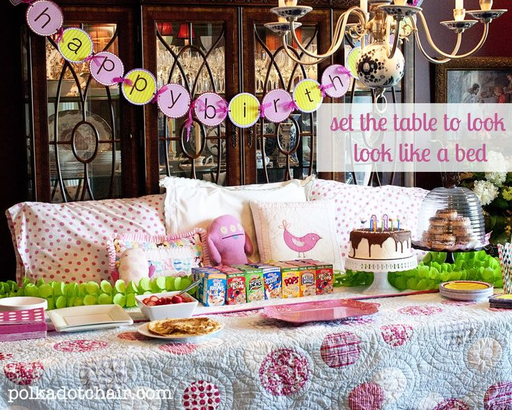 "Simple ""un"" Slumber Party: Set the Table to Look Like a BED! {Decorate Pillow Cases, Eat Breakfast for Dinner, & More Fun Ideas}"