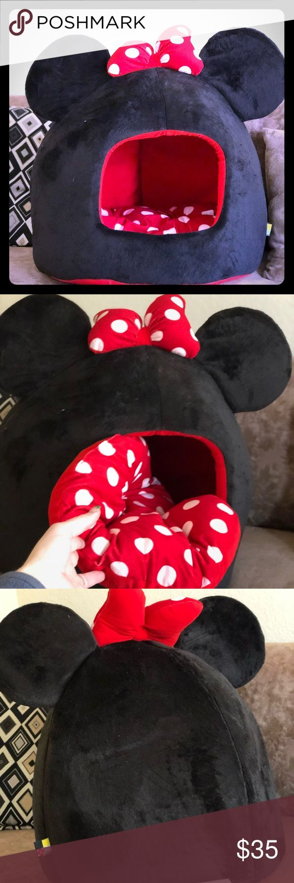 Minnie Mouse Dome Pet Bed The Minnie Mouse Pet Dome provides 360° of coverage to help your furry loved one feel safe and secure. The bed is made with a durable and flexible foam construction. The generously filled cushion is also reversible, with one side printed with a polka dots, and the other side solid red. The bottom of the bed is made with tough waterproof oxford fabric that will prevent any accidental messes from reaching your floor. The exterior of the bed is made with premium…