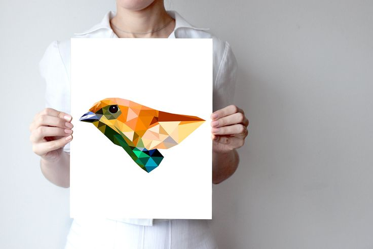 B30 - Chestnut-backed tanager Print  - Geometric, Bird Art, Yellow Feather, Orange, Vivid Green, Tanager, Saira by villavera on Etsy