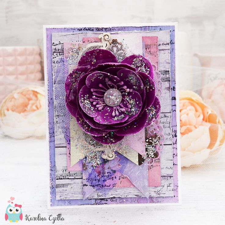 Multilayered card with a fabric flower made with Studio 75 Secret Garden and Lavendre Morning paper collection. Full of glitter, very elegant, made for engagement congratulations. Chipboard from Scrapiniec. cardmaking, scrapbooking