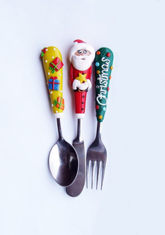 Christmas Serving Cutlery Set Santa Claus Red Green Yellow Baby Spoon Fork Knife Toddler Unique Gift Polymer clay Utensil Set By RadArta