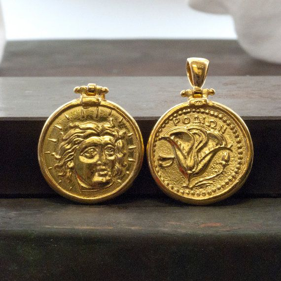 Gold Coin Men Necklace Ancient Greek Rhodes Coin by GreekMythos