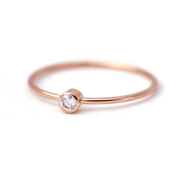 Diamond Engagement Ring Rose Gold Ring 14k Solid Gold by artemer