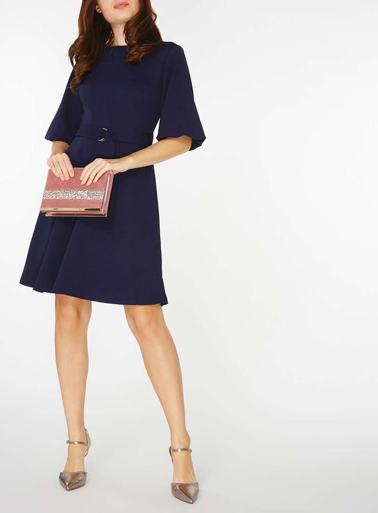 Womens D-Ring Fit and Flare Dress- Blue