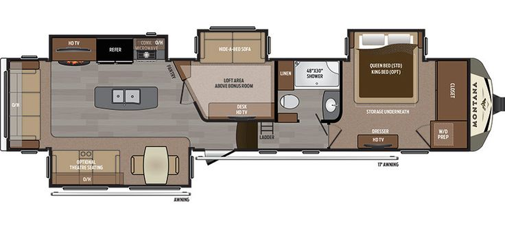 Montana 3950BR.  Mid-bunk floor plan.  Office & bunk. 41' - No OS kitchen - bunkhouse - Gen prep optional