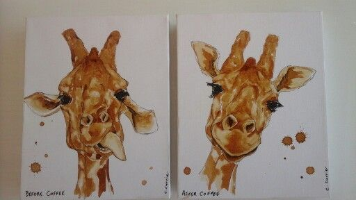 Giraffe before and after coffee.  cathcurrie.etsy.com