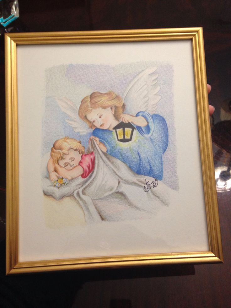 """Quadro """"angeli"""" dipinto a pastello e cornice oro artigianale."""