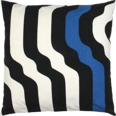 Uniek retro kussen gemaakt van originele stof uit de jaren 60 en 70.  Compleet met donzen binnenkussen.  Hoofdkleuren: zwart, wit en blauw