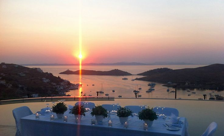 All set-up for the wedding party.During Sunset in Aigis Suites in Kea Island