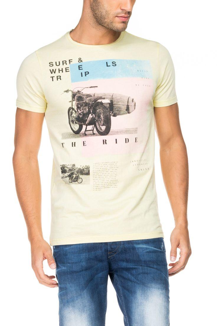 T-shirt corte justo em tons pastel | 116129 AMARELO SURF | Salsa