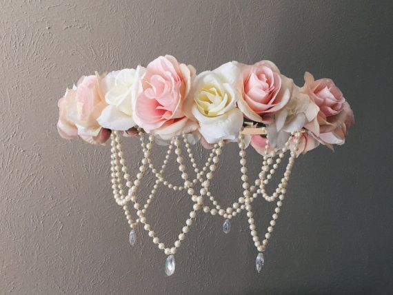 Large Light pink and cream faux flower mobile. Made to order. Adjustable length. Beautiful nursery finish