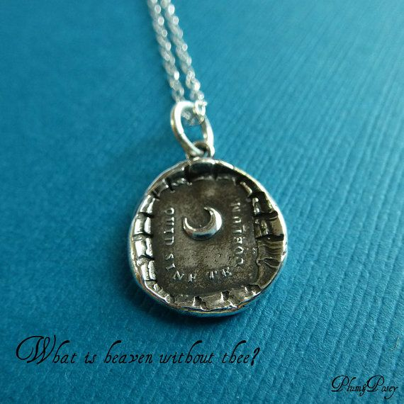 Moon Wax Seal Necklace  What is heaven without by PlumAndPoseyInc, $50.00