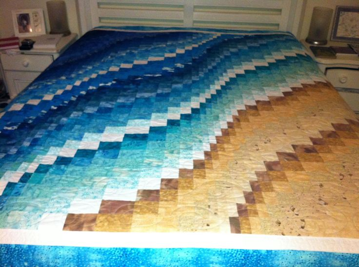 My vision of a beach quilt; created for my ocean loving daughter and son-in-law.