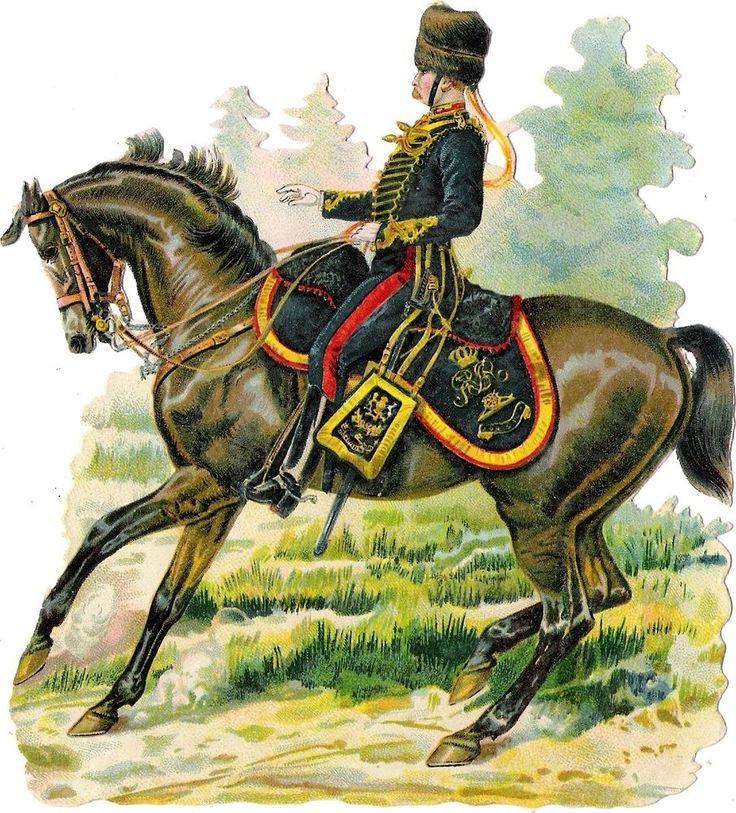 Oblaten Glanzbild scrap die cut chromo Soldat  15,3 cm  soldier Pferd horse