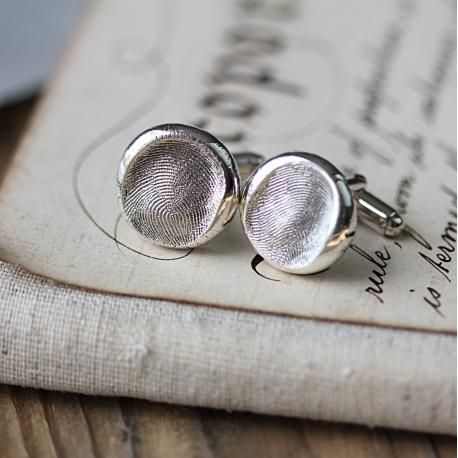 Fingerprint Button Cufflinks - Simply stunning, a wonderful gift to give and receive, one of our original designs from FingerPrint Jewellery. As with everything else, hand crafted and totally bespoke.  The Button Cufflinks work best with adult fingerprints, or older children (over 5 years) with larger more defined, fingerprints.
