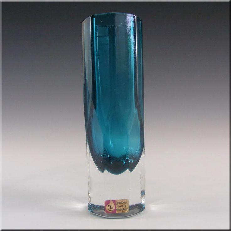 Lindshammar 60s Swedish Blue Glass Vase by Gunnar Ander - £29.99