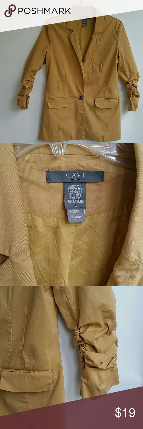 Cavi Mustard Yellow Light Jacket Size Large Cavi Mustard Yellow Light Jacket Size Large. Fully lined, has 2 slits in the bag for comfort and maximum movement.  Sleeves are 3/4 gathered around the elbow area. Has 2 pockets that have not been used yet and one button in the front. Excellent condition.  Please see pictures. cavi Jackets & Coats