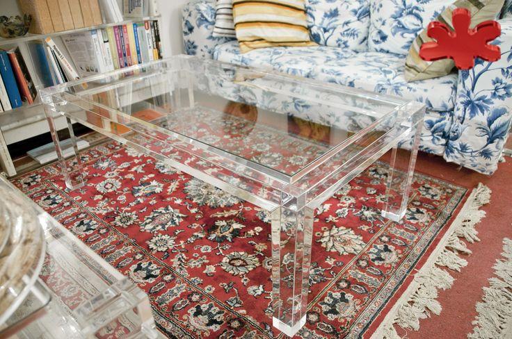 Acrylic furniture - Lucite Acrylic coffe table - TAVOLINI DA SALOTTO IN PLEXIGLASS | Tavolo trasparente in plexiglass 03. mod. MISSING   | Tavolino plexiglas cm.110 x 65 h.40 - telaio sp.mm.60 - gambe sez.mm.60 #lucite #design #homedecor #acrylic