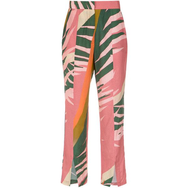 Osklen Graphique Militar pants (1.060 BRL) ❤ liked on Polyvore featuring pants, straight leg pants, red trousers, red pants, mid rise pants and osklen