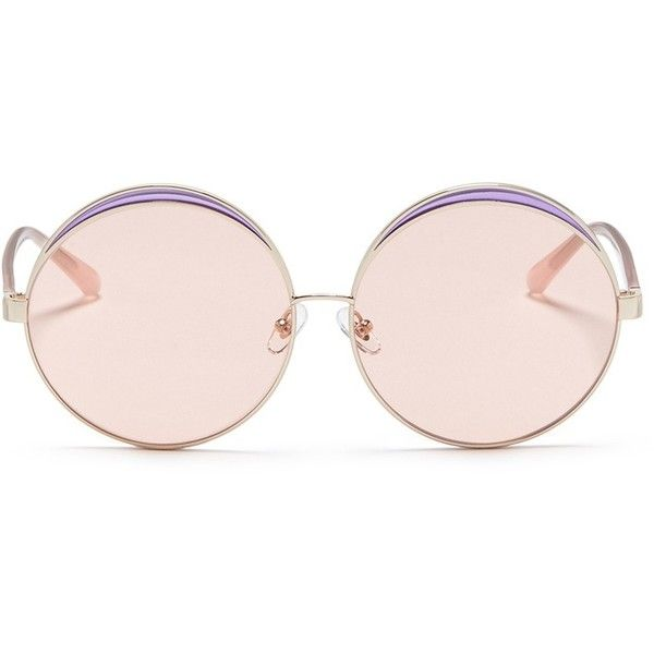 No.21 Colourblock metal oversized round mirror sunglasses (15.145 RUB) ❤ liked on Polyvore featuring accessories, eyewear, sunglasses, metallic, oversized mirrored sunglasses, round sunglasses, metal rimmed glasses, round metal glasses and round glasses