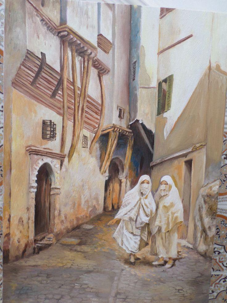Scène quotidienne de la Casbah d'Alger - Peinture, 50x70 cm ©2014 par Hassina Bouglam - Classicisme