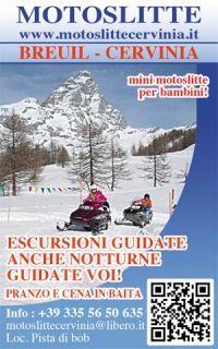 Cervinia-Breuil (Valle d'Aosta) - escursioni in motoslitte - locandina
