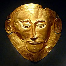 The so-called 'Mask of Agamemnon', a 16th Century BCE mask discovered by Heinrich Schliemann in 1876 at Mycenae, Greece. National Archaeological Museum, Athens.