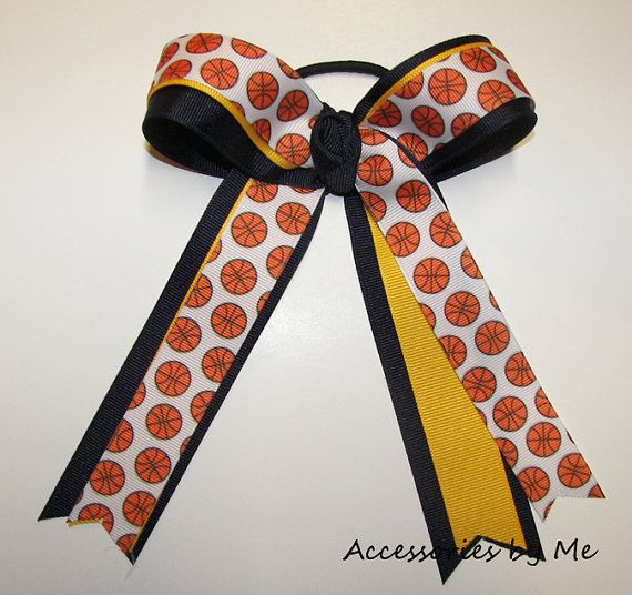 Basketball Ribbons Bow Navy Blue Yellow Gold by accessoriesbyme