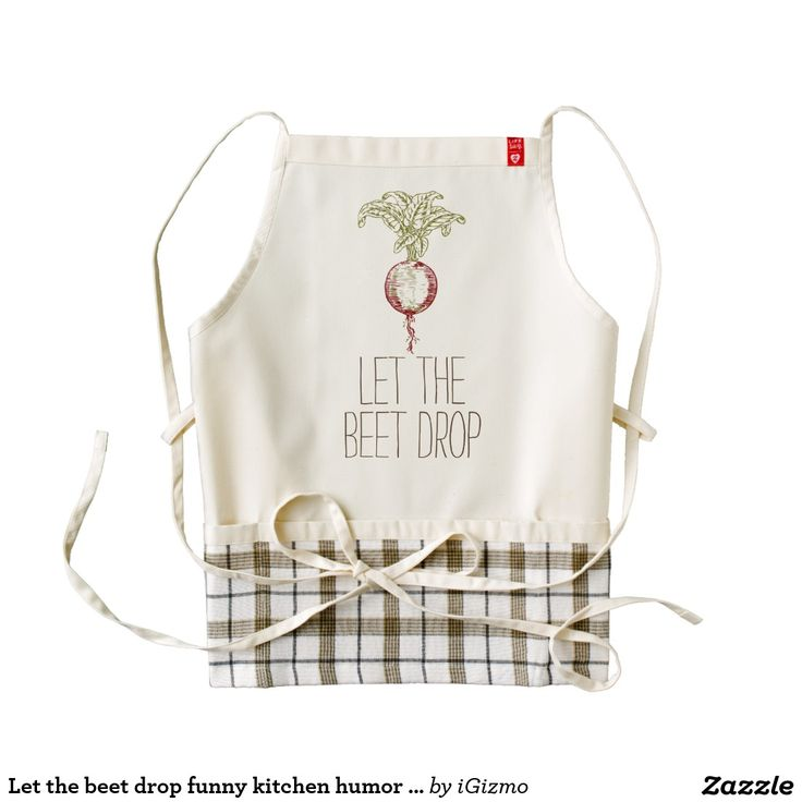 """Funny """"Let the beet drop"""" foodie kitchen humor hipster quote saying Heart apron."""