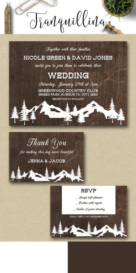 Winter Wedding Invitation Printable, Rustic Wedding Invitation, Rustic  Winter Invite, Mountain Wedding Invitation, Printable Wedding