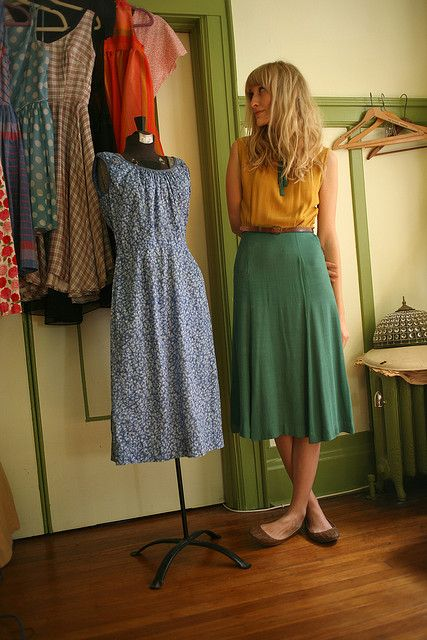 Love everything, especially that skirt!  It has flattering fullness, but a smooth line over the tummy and hips.
