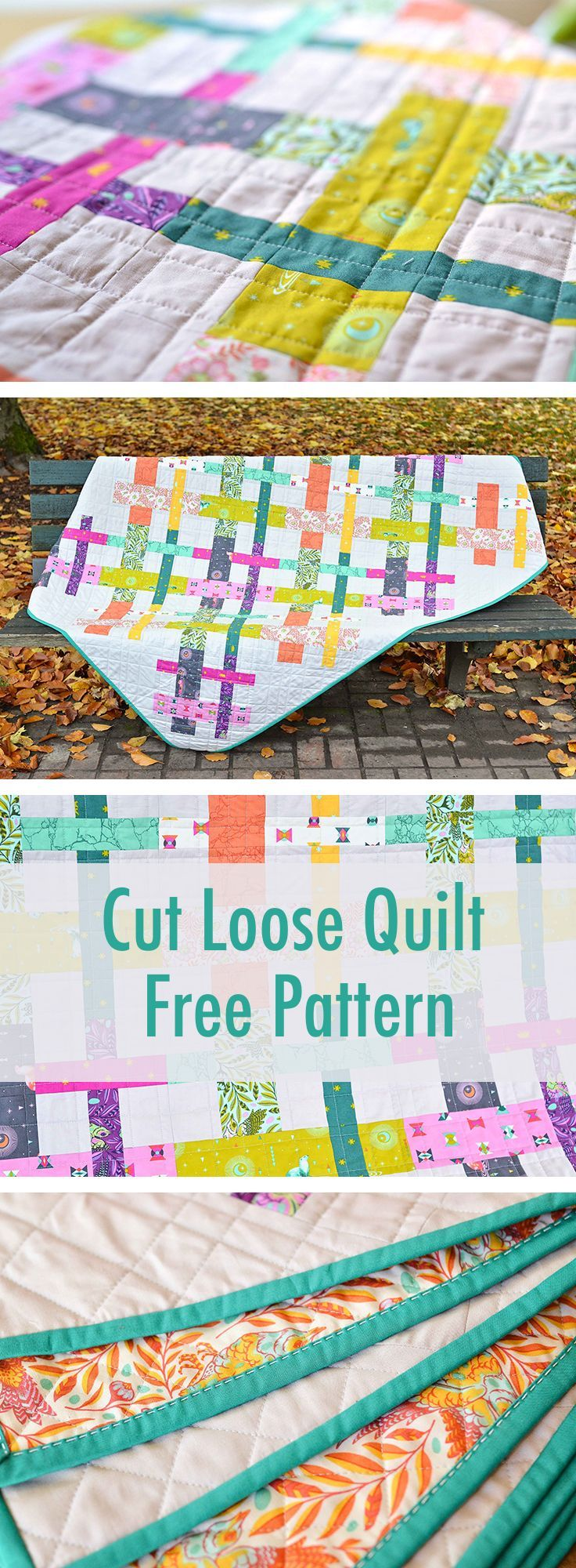 Cut Loose Tula Pink Quilt - made with 12 fat quarters & 3.5 yds background (could I use scrap bag strips?)