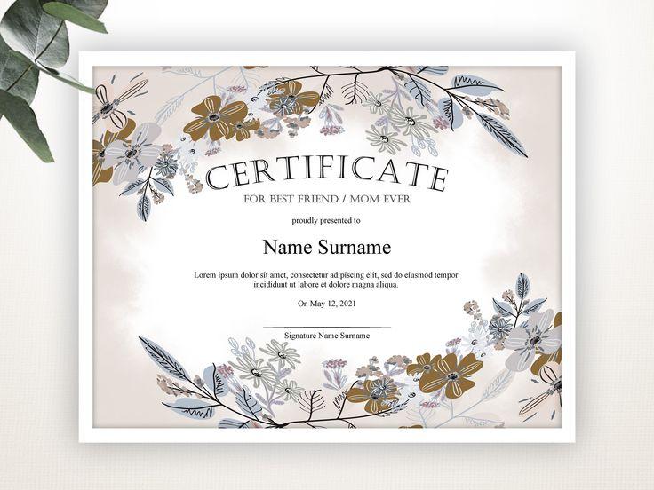 editable certificate template  gift certificate  best